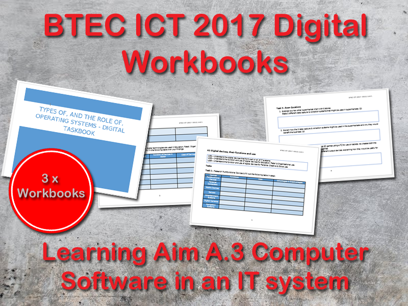 BTEC ICT (2017) UNIT 1 Digital Workbook Learning Aim A - A3 Computer Software in IT Systems