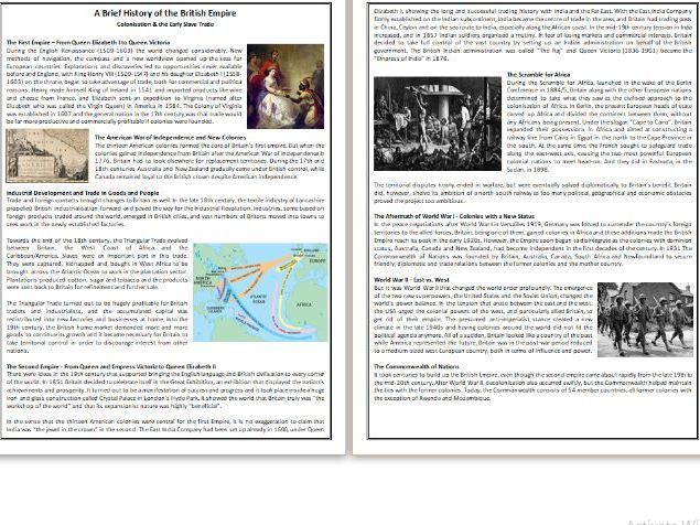 A Brief History of the British Empire, Colonisation & Slave Trade - Reading Comprehension
