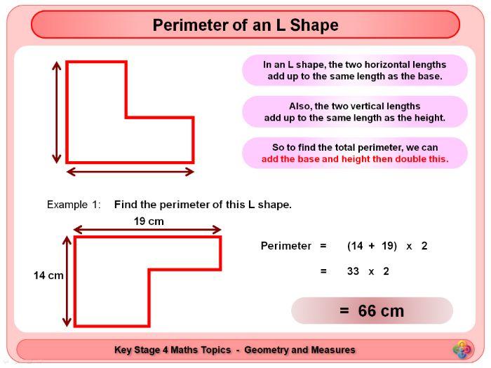 Perimeter and Rectangle of an L Shape KS4