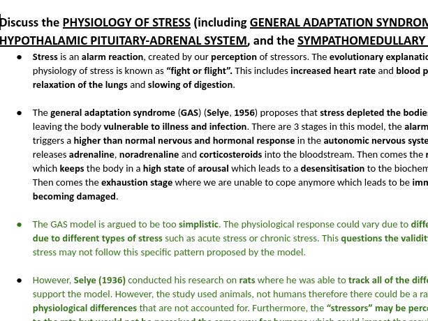 PSYCHOLOGY STRESS 16 MARKERS