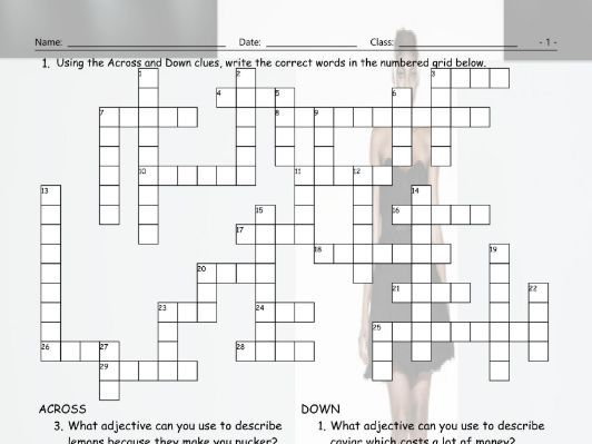 Adjectives Crossword Puzzle