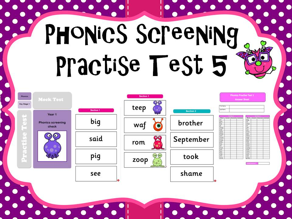 Phonics screening practise test 5