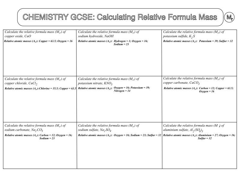 GCSE Chemistry Worksheet: Calculating Relative Formula Mass