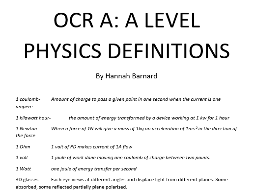 OCR A A-Level Physics Year 1 Definitions