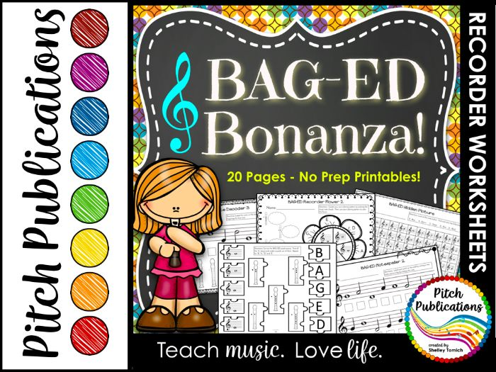 Recorder Bonanza - Recorder Worksheets - Great for music centers!  BAG-ED