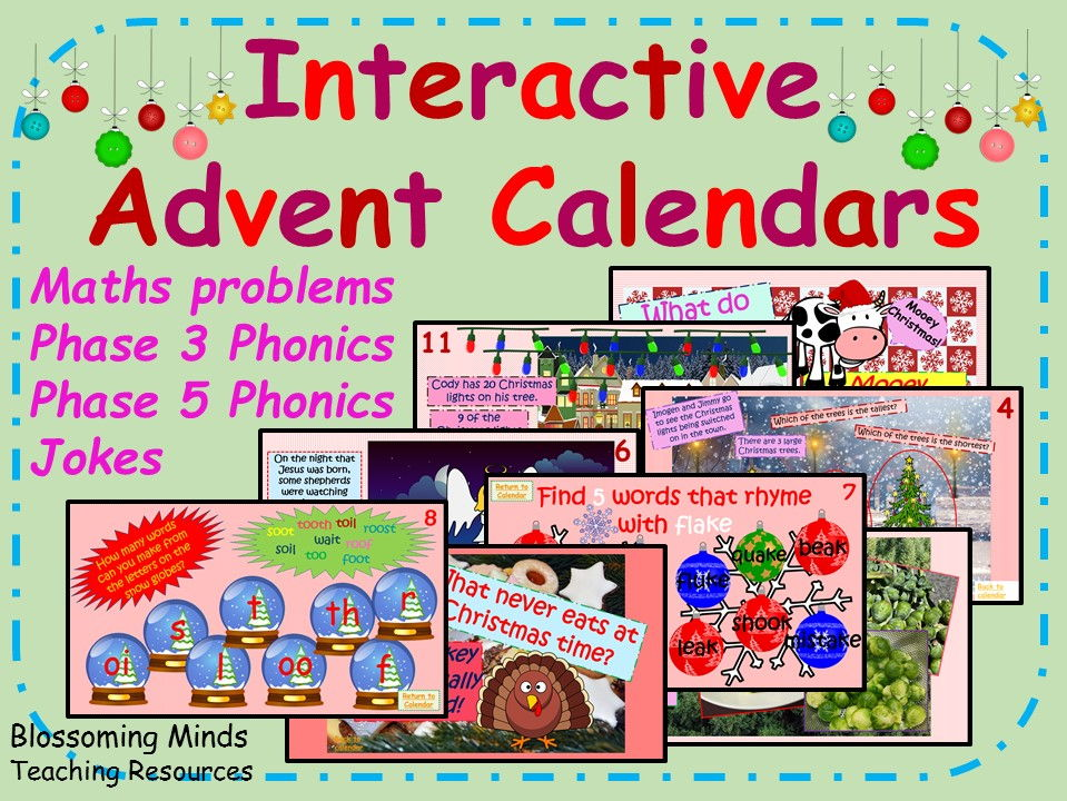 Year 1 Interactive Christmas Advent Calendar Bundle