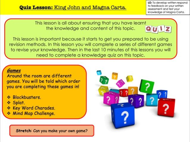 Quiz Lesson: King John and Magna Carta.