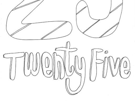 Twenty Five: Numbers: Colouring Page