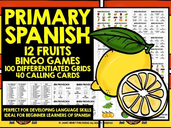PRIMARY SPANISH FRUITS BINGO