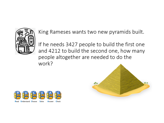 Ancient Egyptian +/- word problems Y4