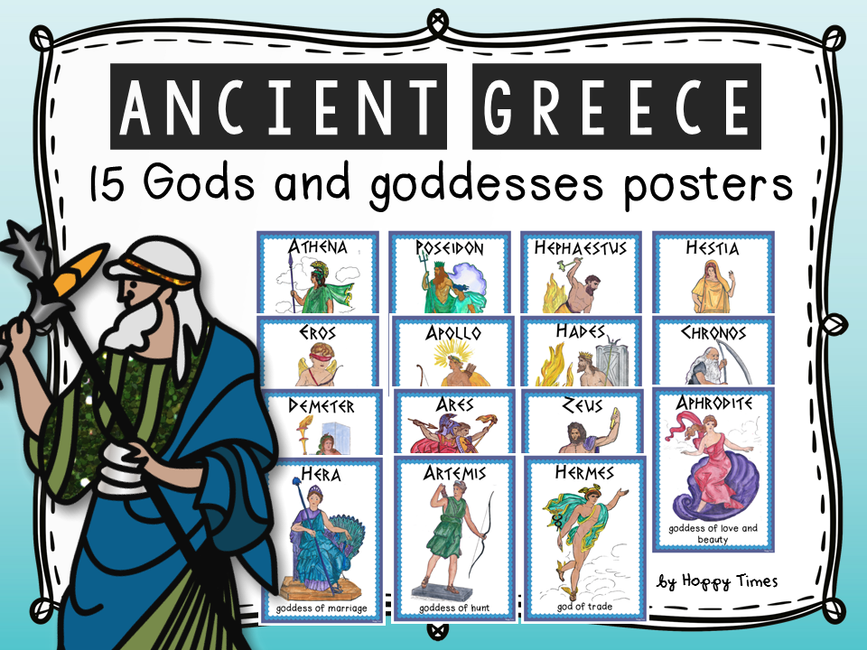 15 Ancient Greece Mythology Gods and Goddesses POSTERS by ...
