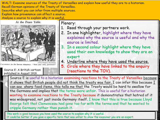 Treaty of Versailles: sources group work/how useful (Weimar and Nazi Germany: Edexcel 9-1)