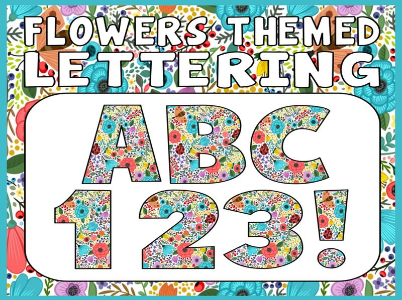 FLOWERS THEMED DISPLAY LETTERING- LETTERS, NUMBERS, PUNCTUATION- SPRING GARDEN PLANTS SEASONS