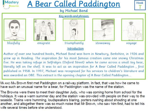 A Bear Called Paddington by Michael Bond comprehension KS2
