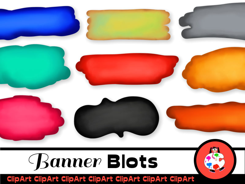 Banners & Blots Decorative Clip Art