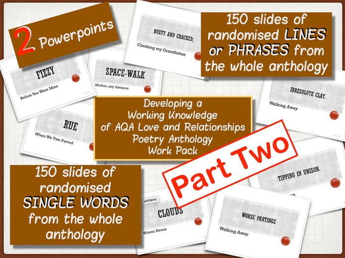 Developing a Working Knowledge of AQA Love & Relationships Anthology - PART TWO!