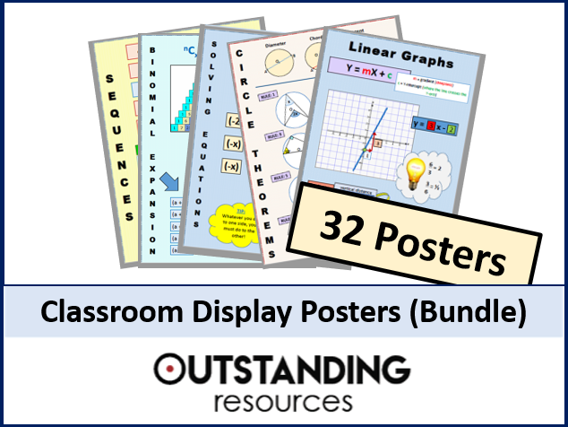 Maths Posters - Bundle of 32 (primary and secondary focus)