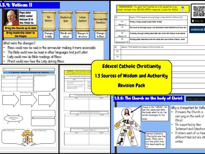 Edexcel Catholic Christianity: 1.3 Sources of Wisdom and Authority- Revision Pack
