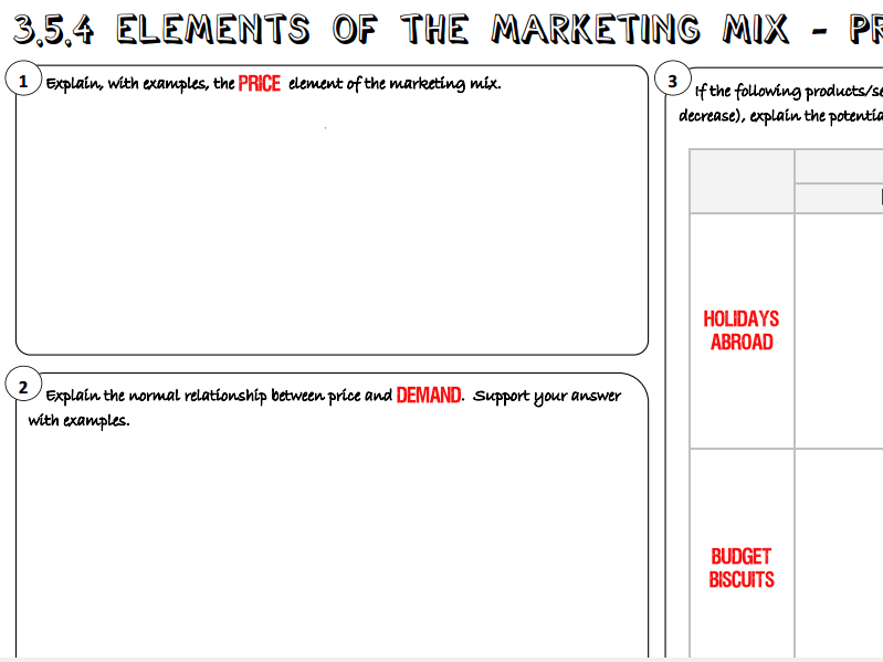 AQA GCSE Business (9-1) 3.5.4 Elements of the Marketing Mix - Price Learning Mat / Revision