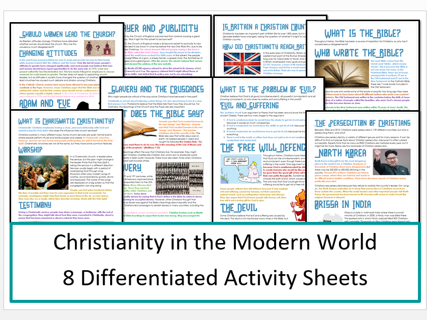 Christianity in the Modern World: Differentiated Information and Activity Bundle!