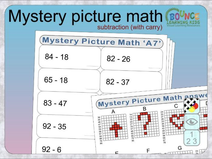 Mystery Picture Maths with subtraction (harder - with carrying) distance learning worksheets