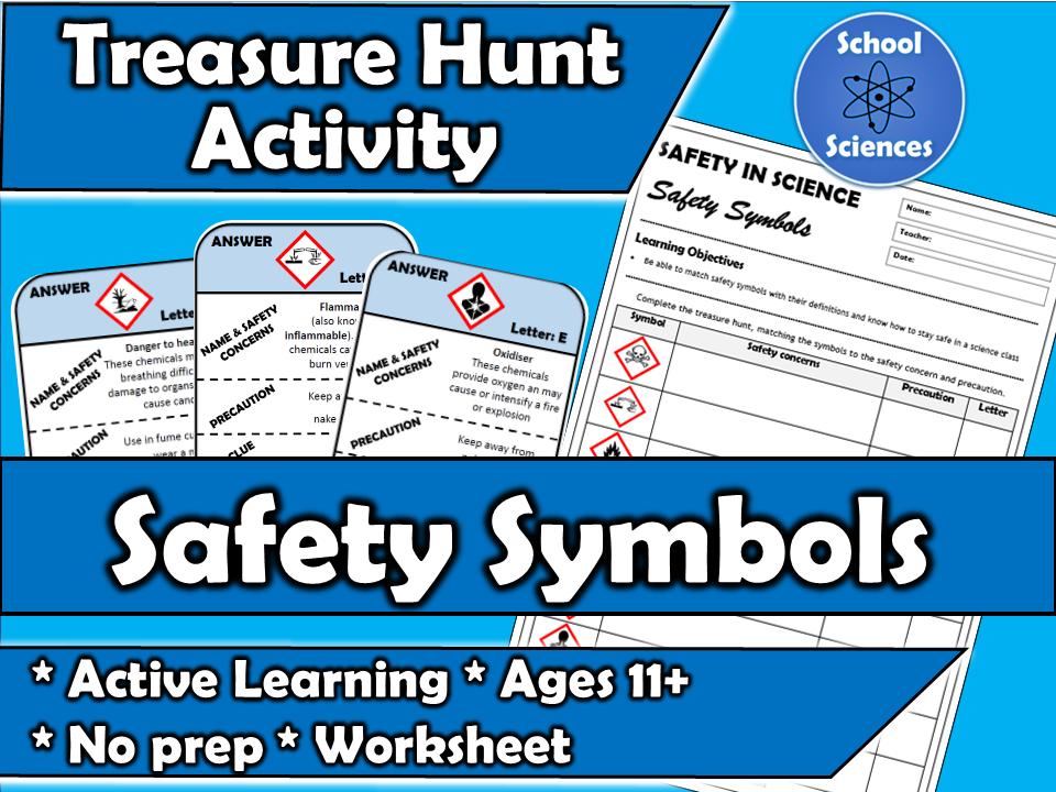 Science Safety Symbols - treasure hunt
