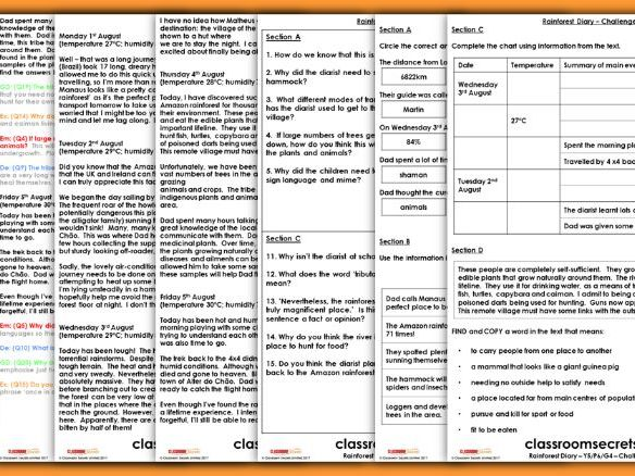 FREE Rainforest Diary Year 5 Geography Whole Class Guided Reading Comprehension