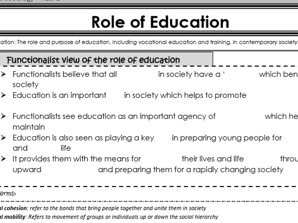 AQA Sociology - Year 1 -  Education - The role and purpose of education