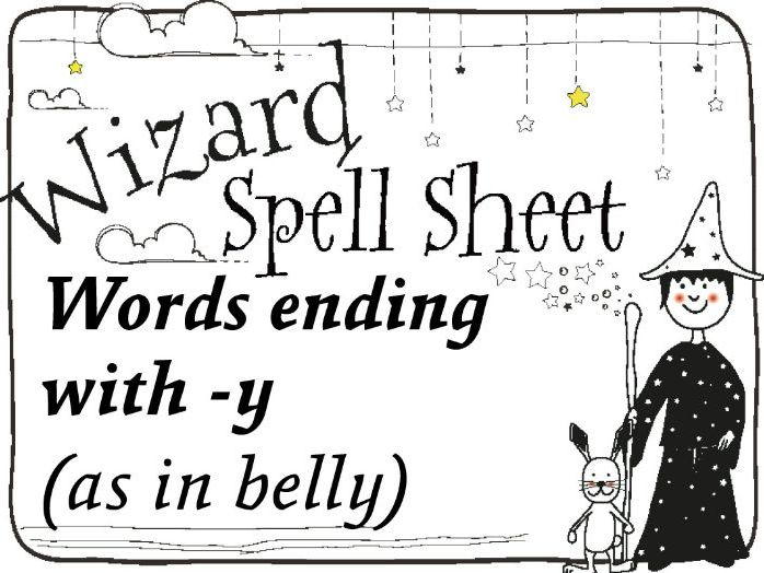 Wizard Spell Sheet: Words ending with -y as in belly