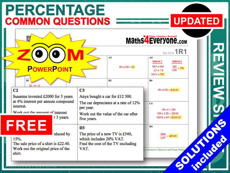 GCSE Revision (Percentages)