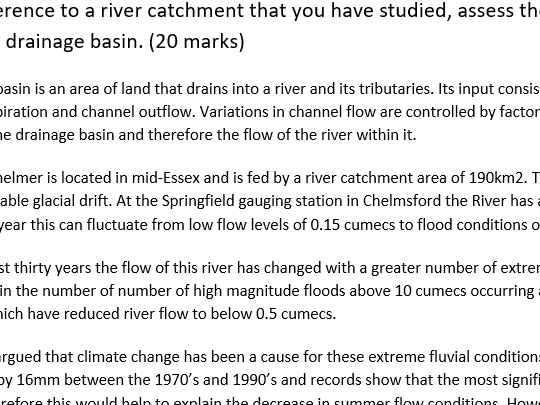 New AQA A level  Geography - Water & Carbon cycle essays