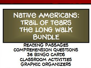 BUNDLE - NATIVE AMERICANS: THE LONG WALK, TRAIL OF TEARS, Lesson, Reading Comprehension and Bingo