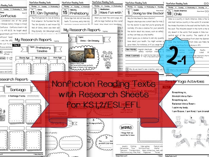 Nonfiction Reading Texts with Research Sheets ( Science & History )2-1 for KS1,  Lower KS2 &ESL, EFL