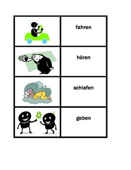 Verben Action verbs in German Concentration games