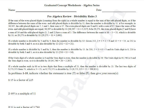 basic algebra worksheet   prealgebra review  divisibility rules  basic algebra worksheet   prealgebra review  divisibility rules  by  mathdbase  teaching resources  tes
