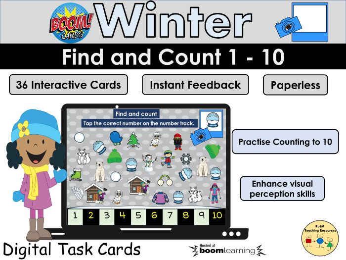 I Spy Find and Count 1 -10 Winter Pictures Visual Perception BOOM Cards™ Distance Home Learning