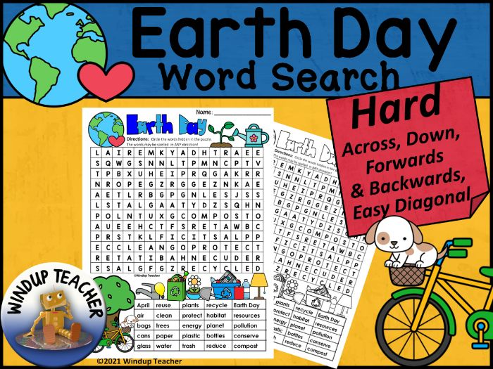 Earth Day Word Search HARD Puzzle