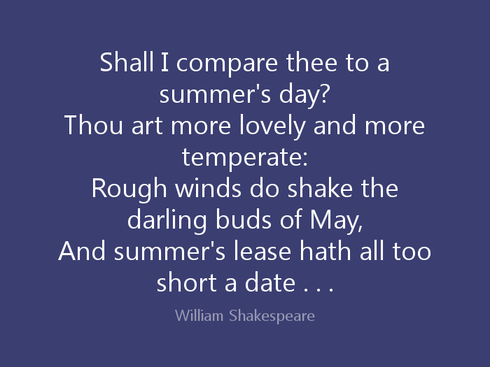 Shakespeare's Sonnet 18 'Shall I compare thee to a summer's day?'