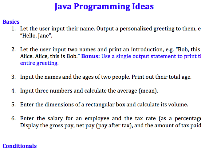 64 Java programming exercise ideas