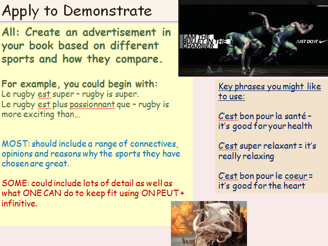 KS3 French Comparisons and Sports