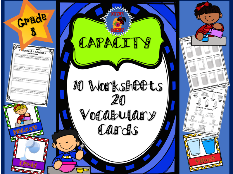 3rd Grade Capacity - Vocabulary Cards + Worksheets