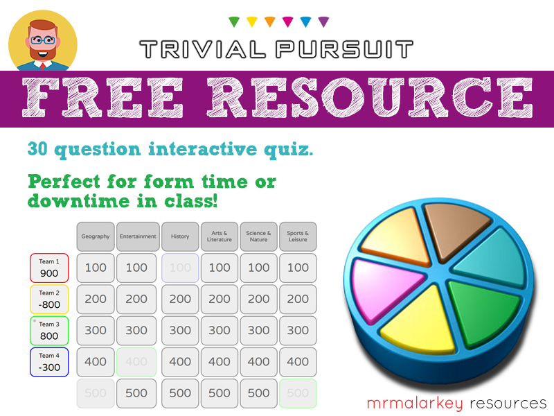 Freebie: Trivial Pursuit-style trivia quiz