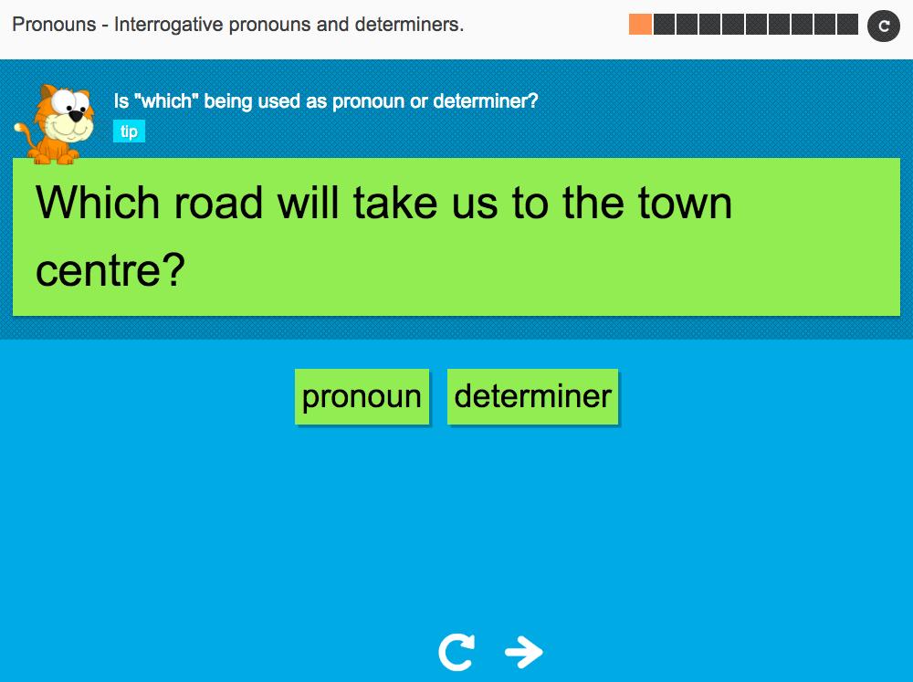 Interrogative pronouns and determiners - Interactive Activity - KS3 Spag
