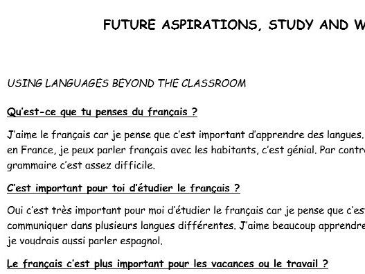 GCSE French conversation questions with model answers (Future aspirations, Work and Study)