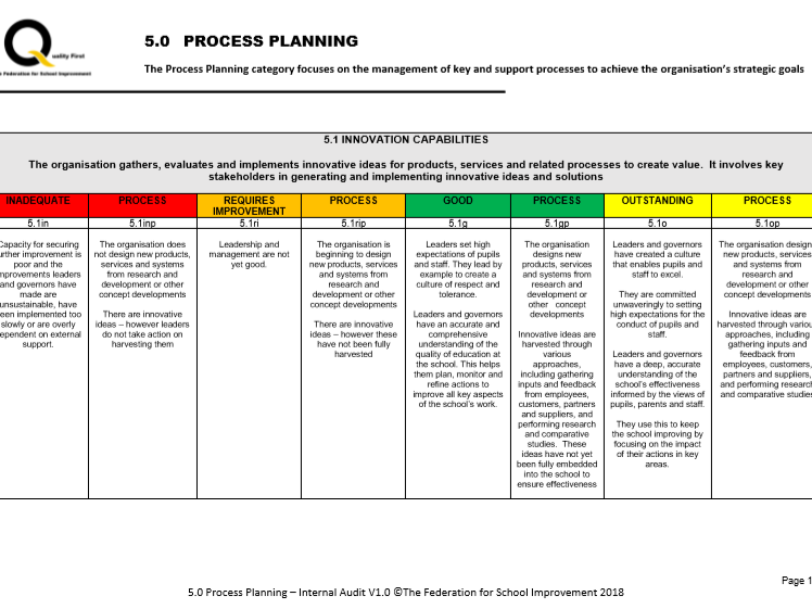 Process Planning - Internal Audit