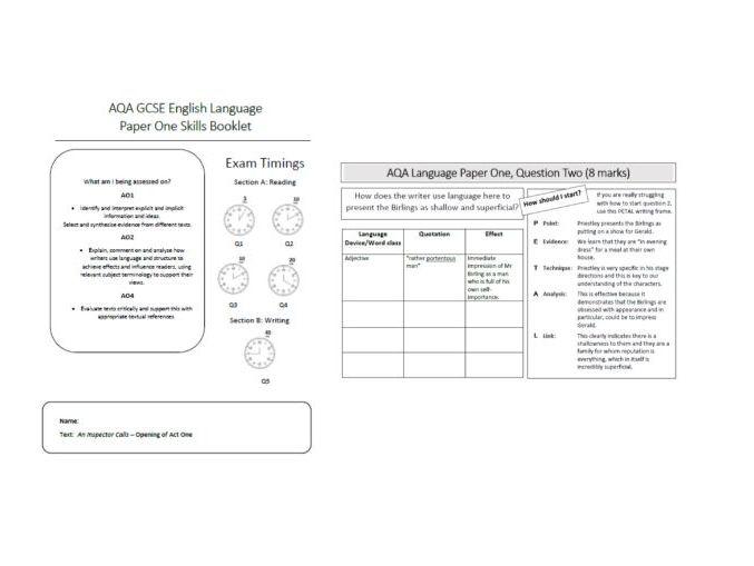 AQA An Inspector Calls Language Paper 1 Skills Booklets