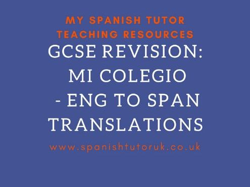 Mi Colegio Translations English to Spanish