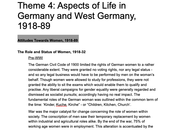 Edexcel AS/A Level History - Paper 1, Route G; Germany and West Germany 1918-89; Theme 4