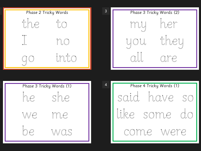 Phonics -Tricky Words for all phases (2-5) Formation Mats -Wipe Clean - EYFS/KS1