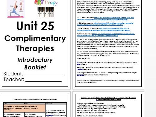 BTEC Level 3 Health & Social Care Unit 25 Complementary Therapies Introductory Booklet